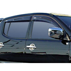 Wind Deflectors Slim-Line, Light Smoke for Nissan Navara (D40) Set of 4