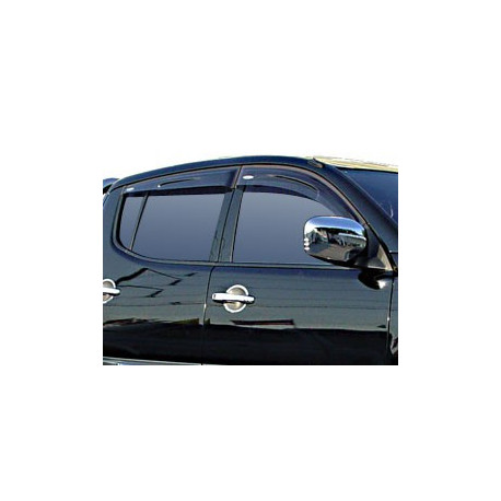 Wind Deflectors Slim-Line, Light Smoke for Nissan Navara (D40) Set of 4